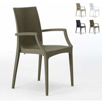 Chaises de jardin fauteuil accoudoirs bar café restaurants en Poly-rotin BISTRO ARM Grand Soleil | Marron
