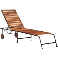 Chaise longue avec pieds en acier Bois d'acacia massif - VIDAXL