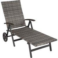 Tectake - Chaise Longue Pliante Réglable en Aluminium et Résine Tressée 186 cm x 73 cm x 68 cm Gris