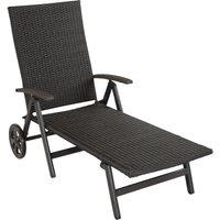 Tectake - Chaise Longue Pliante Réglable en Aluminium et Résine Tressée 186 cm x 73 cm x 68 cm Noir