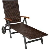 Tectake - Chaise Longue Pliante Réglable en Aluminium et Résine Tressée 194 cm x 77 cm x 64 cm Marron