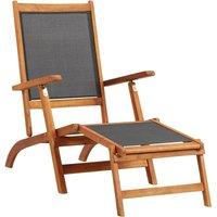 Chaise longue Bois d'acacia solide et textilene - ASUPERMALL