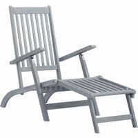 Youthup - Chaise longue d'extérieur avec repose-pied Délavage gris Acacia