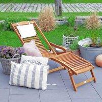 Chaise longue en bois Meubles de jardin Hamac Bain de soleil Couché de jardin - DEUBA