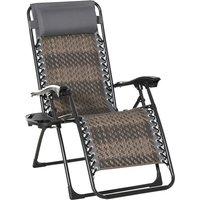 Chaise longue pliable de jardin zéro gravité plateau porte gobelet accessoires tétière acier résine tressée gris