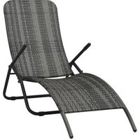 Asupermall - Chaise longue pliable Resine tressee Gris