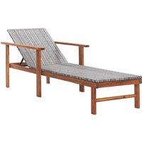 Vidaxl - Chaise longue Résine tressée et bois d'acacia massif Gris