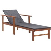 Vidaxl - Chaise longue Résine tressée et bois d'acacia massif Noir