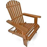 Chaise longue transat Adirondack en bois d'acacia Bain de soleil Siège de jardin pliable Extérieur balcon terrasse
