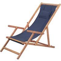 Youthup - Chaise pliable de plage Transat de jardin Bain de soleil Tissu et cadre en bois Bleu