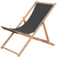 Youthup - Chaise pliable de plage Transat de jardin Bain de soleil Tissu et cadre en bois Gris