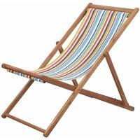 Youthup - Chaise pliable de plage Transat de jardin Bain de soleil Tissu et cadre en bois Multicolore
