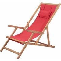 Youthup - Chaise pliable de plage Transat de jardin Bain de soleil Tissu et cadre en bois Rouge