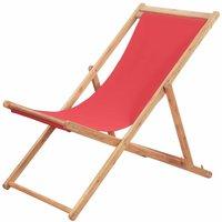 Chaise pliable de plage Transat de jardin Bain de soleil Tissu et cadre en bois Rouge - YOUTHUP