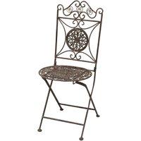 Chaise pliant de salle à manger de jardin d'extérieur en fer forgé complet finition rouille antique diam.39x96 cm - BISCOTTINI