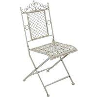 Chaise pliante de salle à manger de jardin d'extérieur en fer forgé blanc antique 41x49x96 cm - BISCOTTINI
