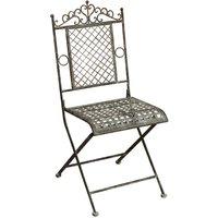 Chaise pliante de salle à manger de jardin d'extérieur en fer forgé fini rouille antique 96x49x41 cm - BISCOTTINI