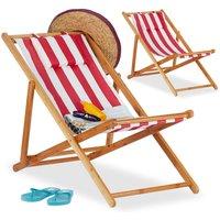 Relaxdays - Chaise pliante lot de 2 en bambou tissu chaise de jardin oreiller balcon plage fauteuil, rouge
