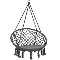Chaise suspendue Ø60cm Siège fauteuil hamac Charge max. 150 kg - Coussin inclus Anthracite - DETEX