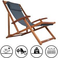 Transat en bois d'acacia réglable sur 3 niveaux Chaise de jardin pliable avec repose-tête Anthracite