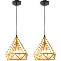 Chandelier , Industrial Pendant Light 25cm Yellow, Vintage Diamond Shape Hanging Light Iron Cage Pendant Lamp E27 for Kitchen Dining Room Bar