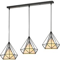 Chandelier Retro Vintage Hanging Light 3 Lamp Holders Lamp Pendant Light Metal Iron Lamp Shade E27 Ø25cm Black