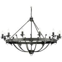 Elstead Windsor Graphite - 12 Light Pendant Chandelier - Graphite