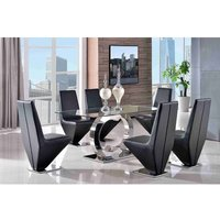 Channel Glass and Polished Steel Dining Table with 6 Rita De