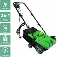 Charles Bentley 1500W 2 in 1 Electric Garden Scarifier and Aerator Lawn Raker - Green