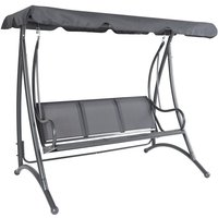 3 Seater Outdoor Swing Seat Bench Chair Hammock w/ Canopy -Grey - Charles Bentley