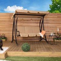 Charles Bentley 3 Seater Premium Outdoor Swing Seat Bench Chair w/ Beige Canopy
