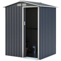 Charles Bentley 4.9ft x 4.3ft Metal Storage Shed Grey Small Apex H186 x W150 cm - Gray