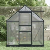 Aluminium Frame Polycarbonate Greenhouse Grey 6 x 6.1ft - Grey - Charles Bentley