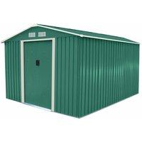 Charles Bentley 8ft x 10ft Metal Garden Storage Outdoor Shed Zinc Frame Green - Green