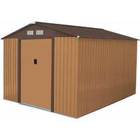 Charles Bentley 8ft x 10ft Metal Garden Storage Outdoor Shed Zinc Frame Brown - Brown