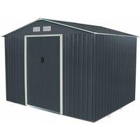 Charles Bentley Navy Grey 9ft x 6ft Metal Steel Garden Shed Outdoor Storage - Gray