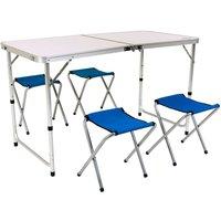 Charles Bentley Odyssey Folding Portable Camping Furniture Set - WHITE, BLUE