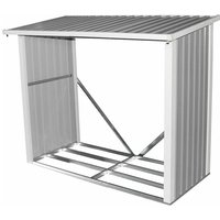 Charles Bentley Metal Log Wood Store Shed - 6x3ft (W182 x D89 x H148cm) - BEIGE, GREY