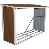 Charles Bentley Metal Log Wood Store Shed - L242 x D89 x H148 (8x3ft) - Brown