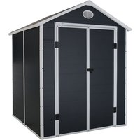 Charles Bentley Plastic Storage Garden Shed 6.3ft x 6.2ft Grey Med Roof Outdoor - Gray