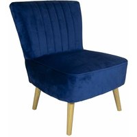 Charles Bentley Velvet Cocktail Occasion Accent Chair Solid Wood Legs Navy Blue