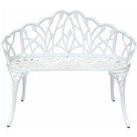 White Tulip Cast Aluminium Metal 2 Seats Garden Patio Bench Seat - White - Charles Bentley