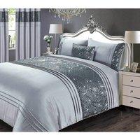 CHARLESTON Glitter Sequins Duvet Cover Set Bedding Range Grey Double - RAPPORT