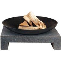 Cheminée d'extérieur vasque sur table en granite rectangulaire - ESSCHERT DESIGN