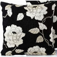 Chenille Rose 18 Black Cushion Cover Bed Sofa Accessory Unfilled