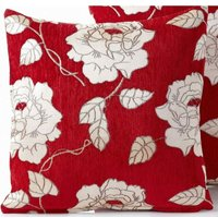 Chenille Rose 18 Red Cushion Cover Bed Sofa Accessory Unfilled