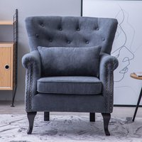 Chenille Wingback Armchair With Cushion, Dark Grey - LIVINGANDHOME