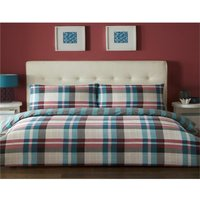 Bedmaker - Chequered Teal Single Quilt Duvet Cover Set Bedding Bed Set Checked