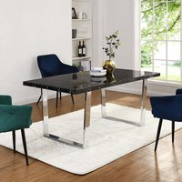 Cherry Tree Furniture BIASCA 6-Seater High Gloss Marble Effect Dining Table with Silver Chrome Legs Black