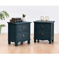 Cherry Tree Furniture CAMROSE 2X Wooden Bedside Cabinet with Metal Cup Pull Handles Blue 2 Drawer Pair - MERIDEN FURNITURE
